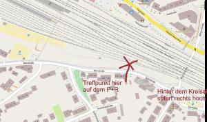Wegbeschreibung zum Treffpunkt am Troisdorfer Bahnhof -  Quelle Originalkarte: Openstreetmaps Lizenz: http://opendatacommons.org/licenses/odbl/
